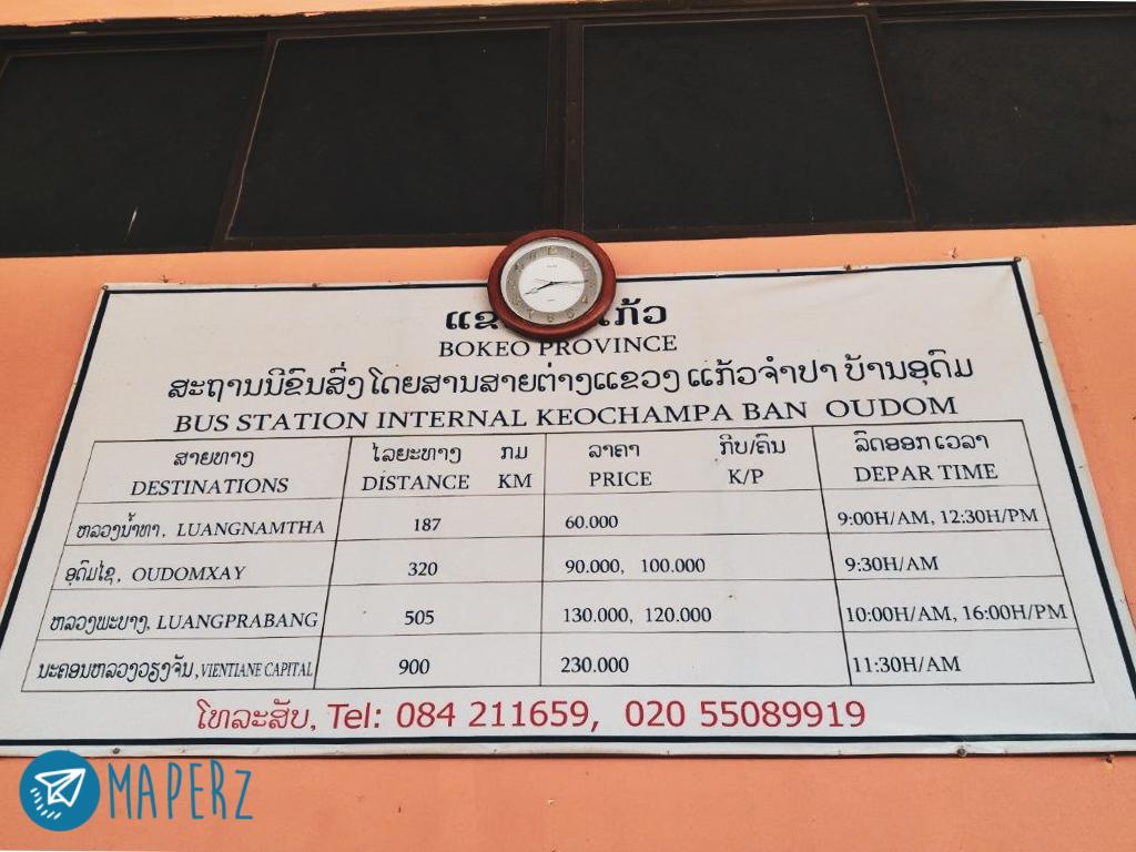 Horario buses de Muang Xai/Oudom Xai